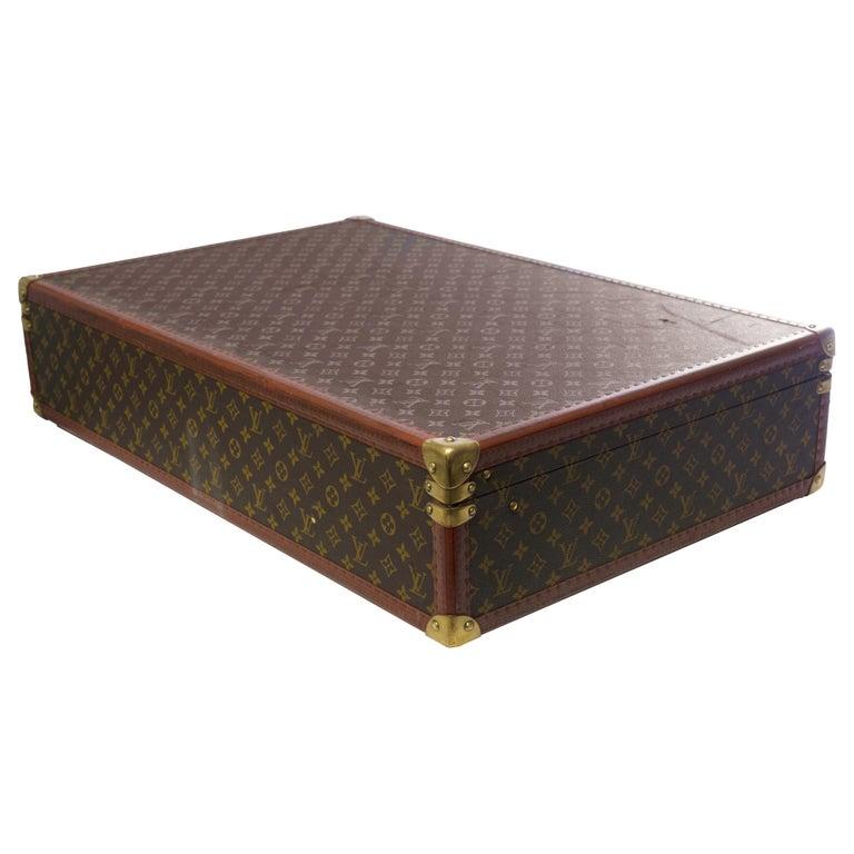 Rare Louis Vuitton Trunk Alzer 80cm Suitcase in brown monogram canvas For Sale 1