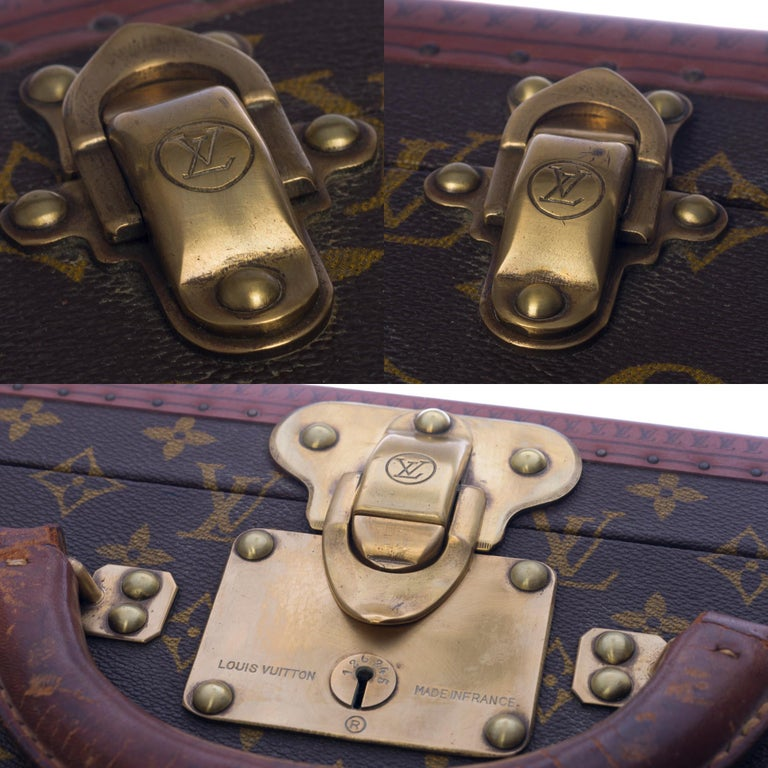 Rare Louis Vuitton Trunk Alzer 80cm Suitcase in brown monogram canvas For Sale 2