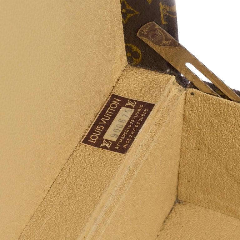 Rare Louis Vuitton Trunk Alzer 80cm Suitcase in brown monogram canvas For Sale 3