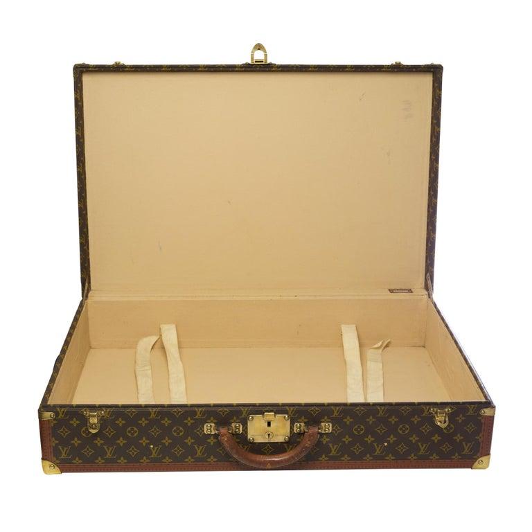 Rare Louis Vuitton Trunk Alzer 80cm Suitcase in brown monogram canvas For Sale 4