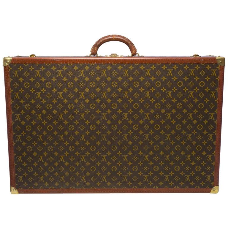 Rare Louis Vuitton Trunk Alzer 80cm Suitcase in brown monogram canvas For Sale