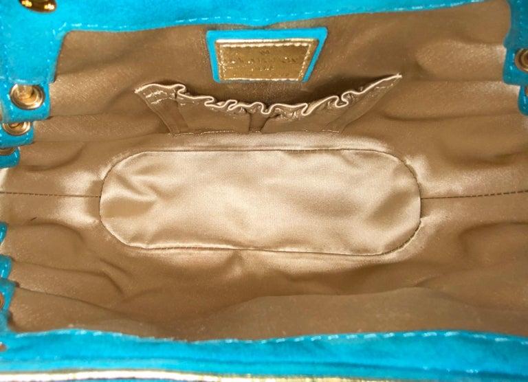 Rare Louis Vuitton Turquoise Suede & Gold LV Monogram Lock Evening Bag Purse For Sale 5