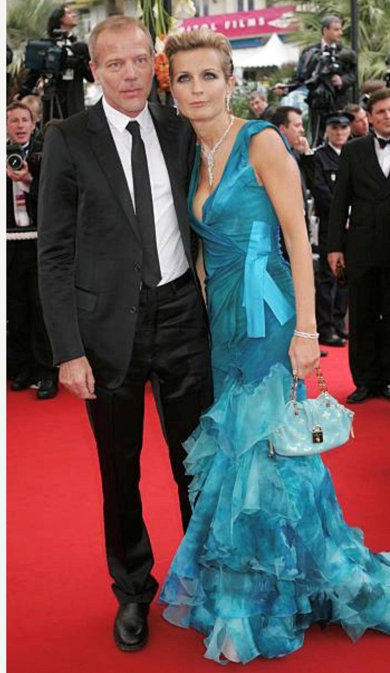 Rare Louis Vuitton Turquoise Suede & Gold LV Monogram Lock Evening Bag Purse For Sale 7