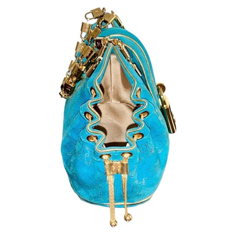 Blue Rare Louis Vuitton Turquoise Suede & Gold LV Monogram Lock Evening Bag Purse For Sale