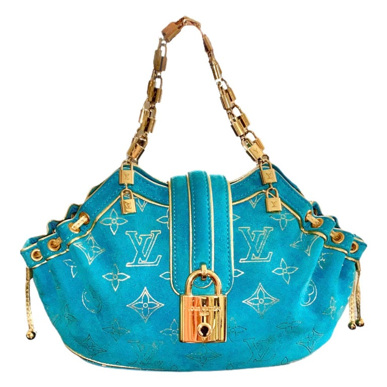 Rare Louis Vuitton Turquoise Suede & Gold LV Monogram Lock Evening Bag Purse In Good Condition For Sale In Switzerland, CH