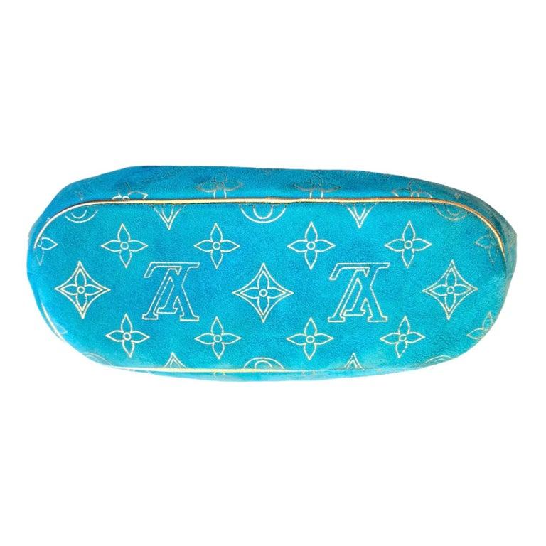 Women's Rare Louis Vuitton Turquoise Suede & Gold LV Monogram Lock Evening Bag Purse For Sale