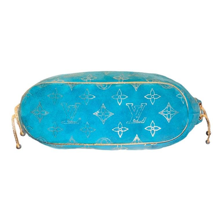 Rare Louis Vuitton Turquoise Suede & Gold LV Monogram Lock Evening Bag Purse For Sale 1