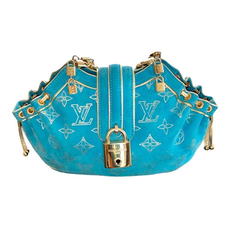 Rare Louis Vuitton Turquoise Suede & Gold LV Monogram Lock Evening Bag Purse For Sale 2
