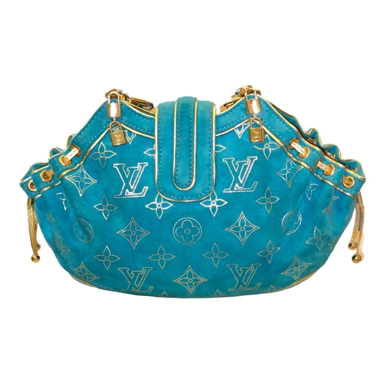 Rare Louis Vuitton Turquoise Suede & Gold LV Monogram Lock Evening Bag Purse For Sale 3