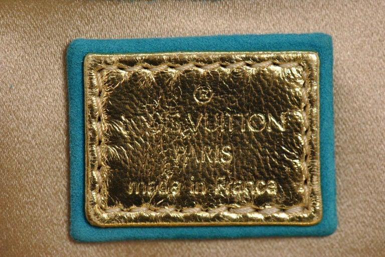 Rare Louis Vuitton Turquoise Suede & Gold LV Monogram Lock Evening Bag Purse For Sale 4