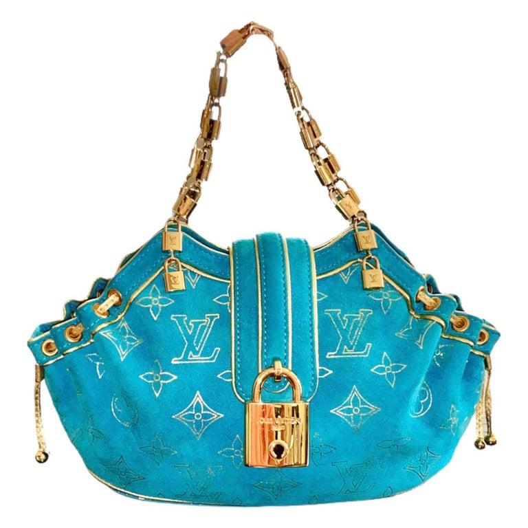 Rare Louis Vuitton Turquoise Suede & Gold LV Monogram Lock Evening Bag Purse For Sale