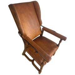 Rare Louis XIII Leather Library Adjustable Armchair, circa 1700