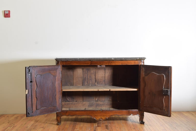 Rare Louis XIV/XV Period Carved Walnut Buffet, Marrone Fossilized Marble Top For Sale 5