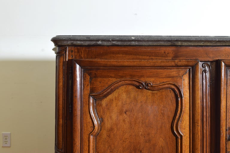 Rare Louis XIV/XV Period Carved Walnut Buffet, Marrone Fossilized Marble Top For Sale 6