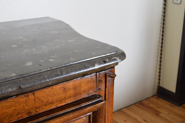 Rare Louis XIV/XV Period Carved Walnut Buffet, Marrone Fossilized Marble Top For Sale 7