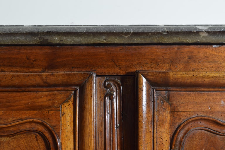 Rare Louis XIV/XV Period Carved Walnut Buffet, Marrone Fossilized Marble Top For Sale 8