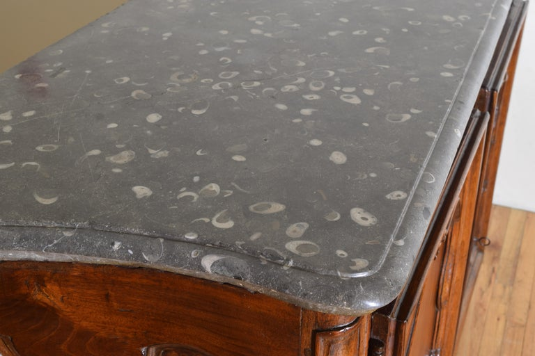 Rare Louis XIV/XV Period Carved Walnut Buffet, Marrone Fossilized Marble Top For Sale 11