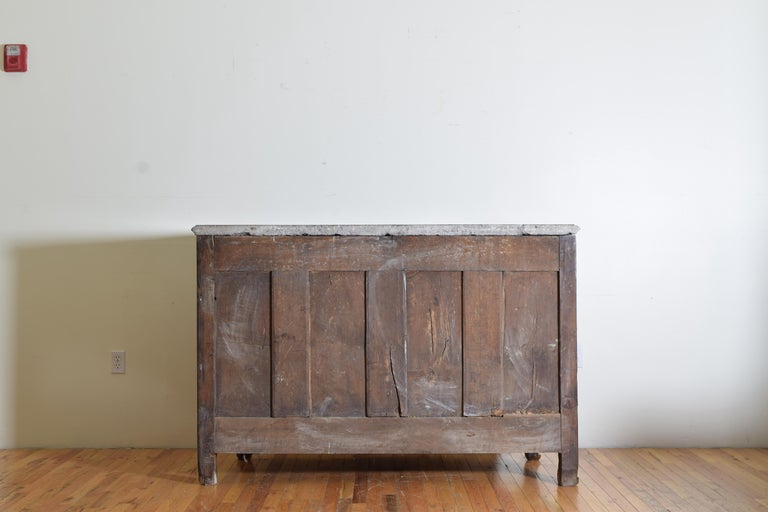 Rare Louis XIV/XV Period Carved Walnut Buffet, Marrone Fossilized Marble Top For Sale 13