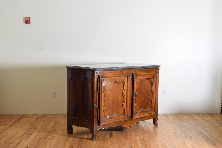 French Rare Louis XIV/XV Period Carved Walnut Buffet, Marrone Fossilized Marble Top For Sale