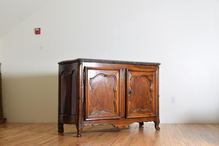 18th Century Rare Louis XIV/XV Period Carved Walnut Buffet, Marrone Fossilized Marble Top For Sale