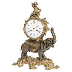 "Rare Louis XV Style ""Elephant"" Bronze Mantel Clock"
