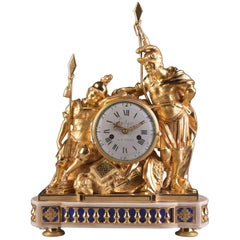 Rare Louis XVI Bronze Gilded Two Classic Soldier's Mantel Clock, France