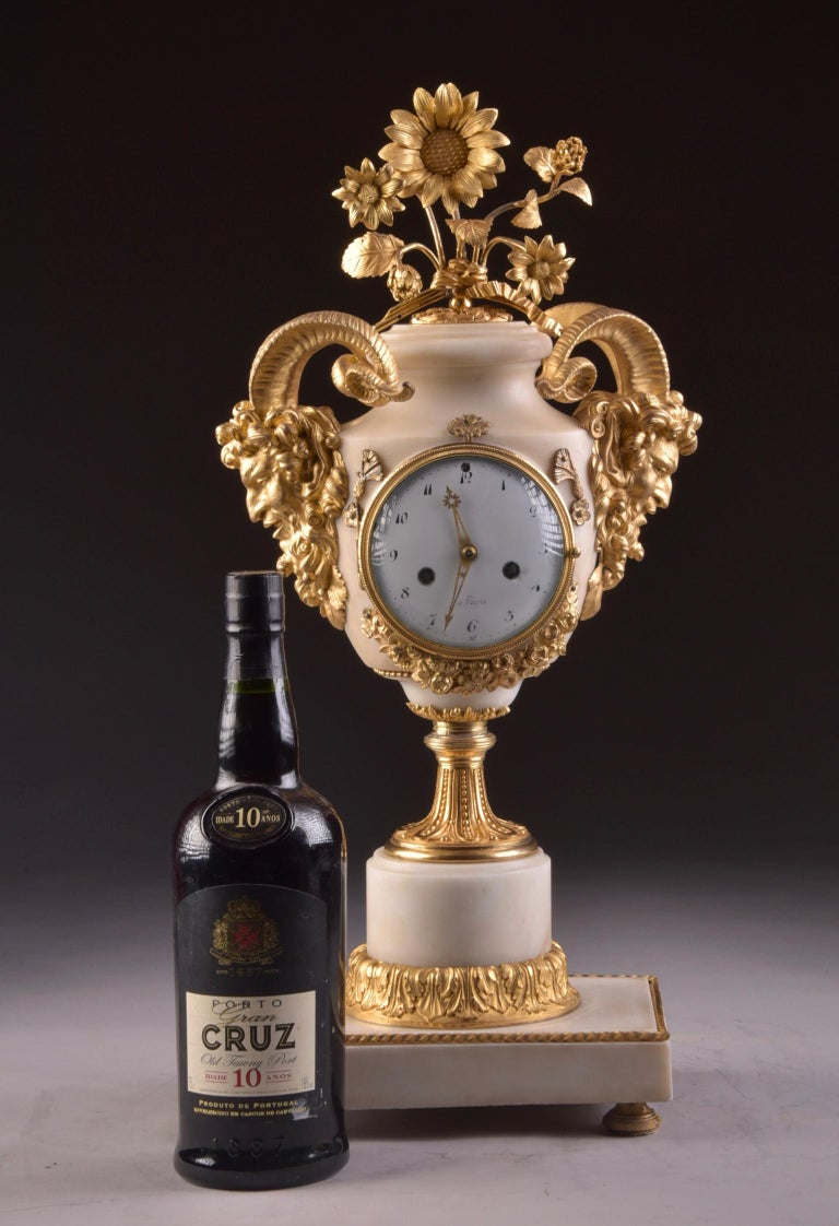Gilt Rare Louis XVI Mantel Clock