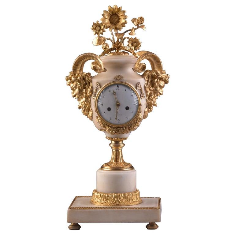 "Rare Louis XVI Mantel Clock ""with satyr heads"", Marmer Carrara For Sale"