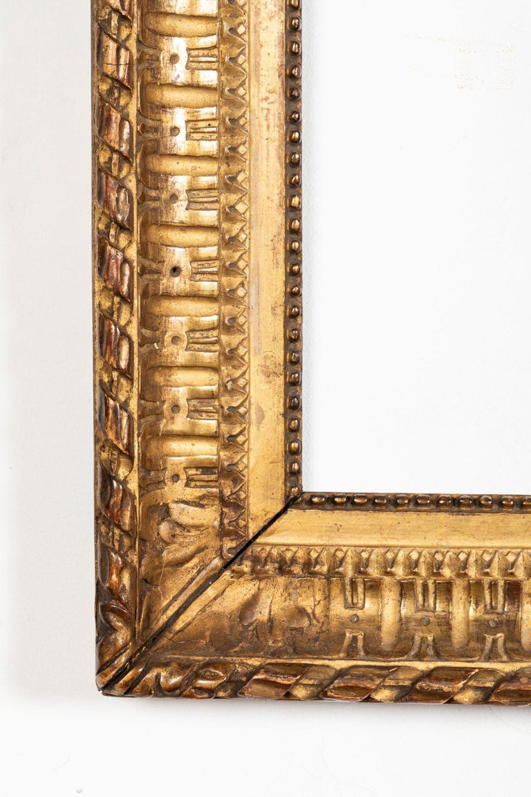 French Rare Louis XVI Period Carved Giltwood Frame, Mirror, France, Late 18th Century For Sale