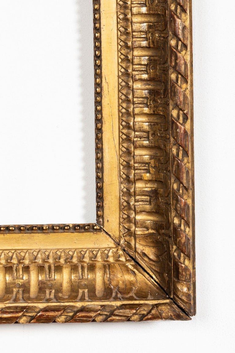 Rare Louis XVI Period Carved Giltwood Frame, Mirror, France, Late 18th Century For Sale 1