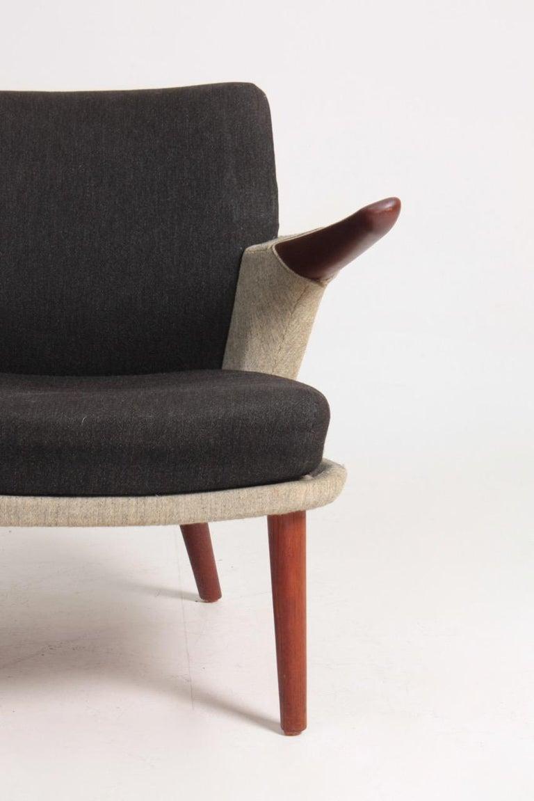 Danish Rare Lounge Chair in Original Fabric and Teak by Ib Kofod Larsen, 1950s For Sale