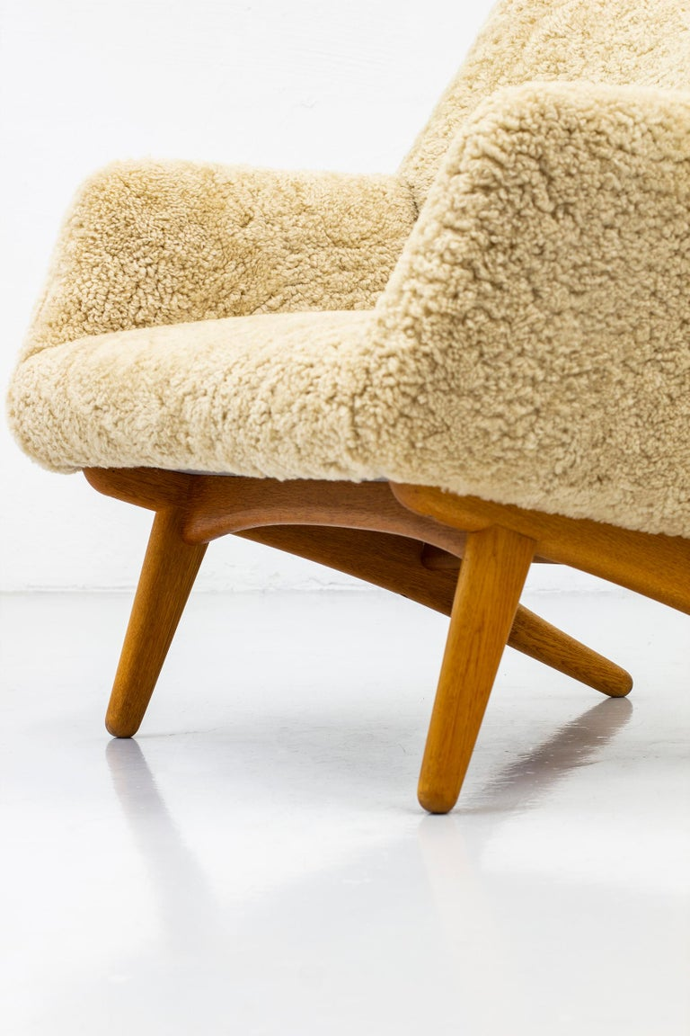 Rare Lounge Chair with Ottoman in Sheepskin by Illum Wikkelsø In Good Condition In Stockholm, SE