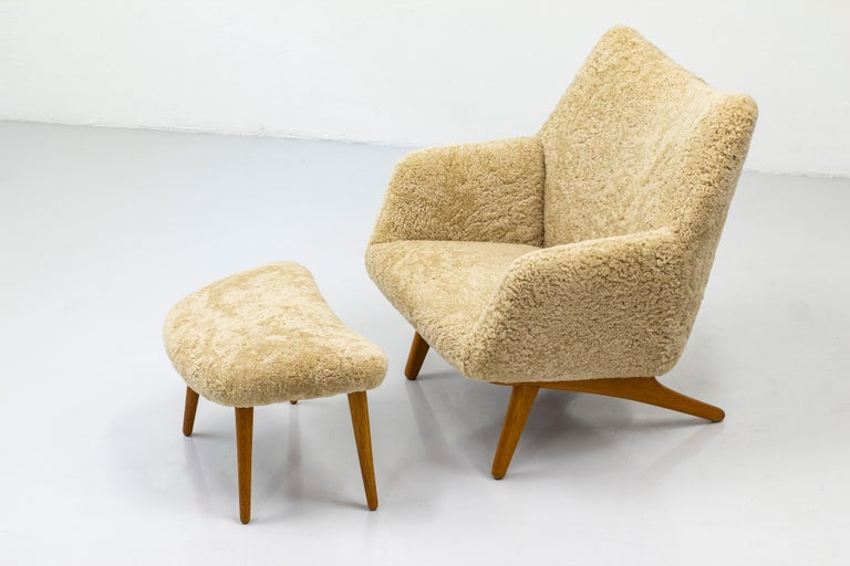 Rare Lounge Chair with Ottoman in Sheepskin by Illum Wikkelsø 3