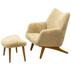 Rare Lounge Chair with Ottoman in Sheepskin by Illum Wikkelsø