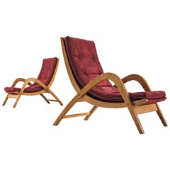 Rare Lounge Chairs by Neil Morris in Velvet Burgundy Upholstery