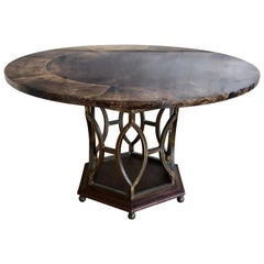 Rare Low Dinning Table by Aldo Tura Italy Goatskin and Brass