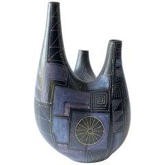 Rare Lu Klopfer West German Pottery Triple Spouted European Modern Vessel