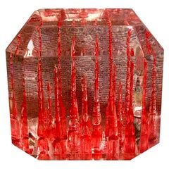 Rare Lucite Cube Paperweight-Clear and Red