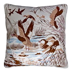 "Rare Luxury Silk Vintage Cushion ""Fowl in Flight"" Bespoke pillow Made in London"