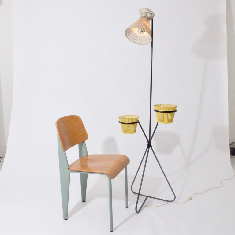 Rare M. Matégot Standing Lamp and Double Rigitule Flowerpot, Original Paint In Good Condition In London, GB