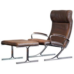 Rare M. v. Gerkan Easy Chair and Ottoman Mod. Berlin Brown Leather Steel Knoll
