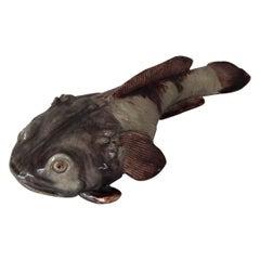 Rare Mafra Majolica Palissy Monkfish Wall Plaque