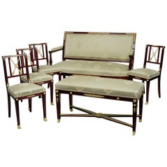 Rare Mahogany Empire Revival Salon Suite by François Linke, circa 1910