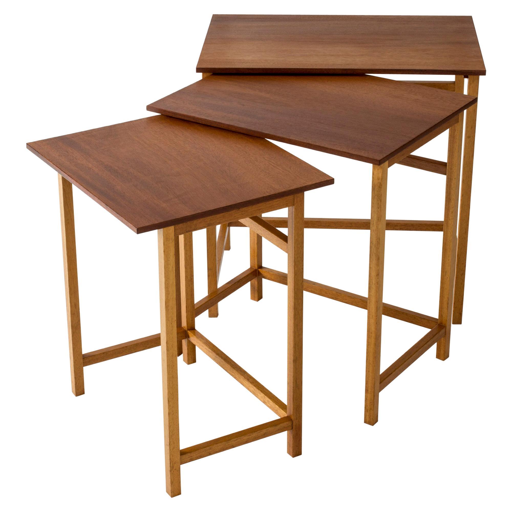 Rare Mahogany Nesting Table by Josef Frank for Svenskt Tenn, Sweden, 1950s