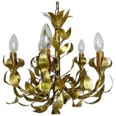 Rare Maison Jansen Brass Leaf Chandelier, circa 1960s
