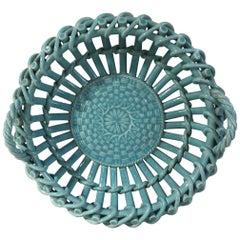 Rare Majolica Aqua Turquoise Handled Basket Sarreguemines, circa 1870