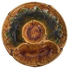 Rare Majolica Artichoke Plate Sarreguemines Majolica, circa 1870