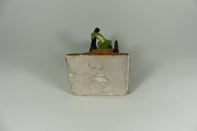 Rare Majolica Frog Sitting on a Chair Jerome Massier, circa 1910 In Good Condition For Sale In The Hills, TX
