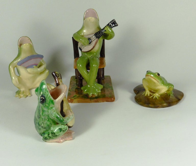 Early 20th Century Rare Majolica Frog Sitting on a Chair Jerome Massier, circa 1910 For Sale