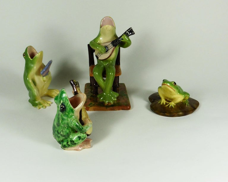 Ceramic Rare Majolica Frog Sitting on a Chair Jerome Massier, circa 1910 For Sale